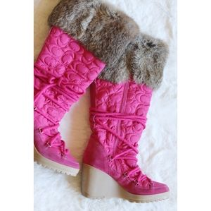 Coach | Sofie rabbit fur & suede wedge snow boots
